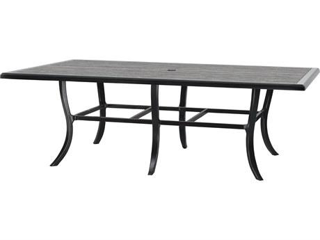 GenSun Lattice Cast Aluminum 90 x 62 Rectangular Dining Table with Umbrella Hole