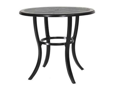 Gensun Lattice Cast Aluminum 44 Round Bar Table with Umbrella Hole