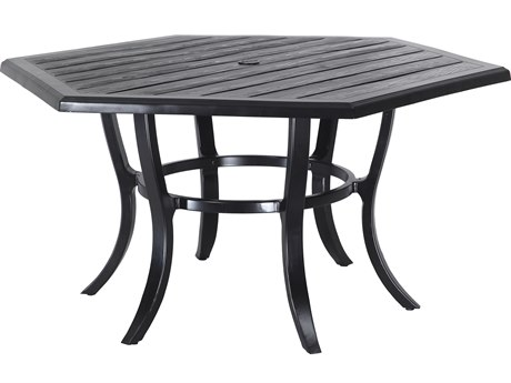 Gensun Lattice Cast Aluminum 61 Hexagon Dining Table with Umbrella Hole