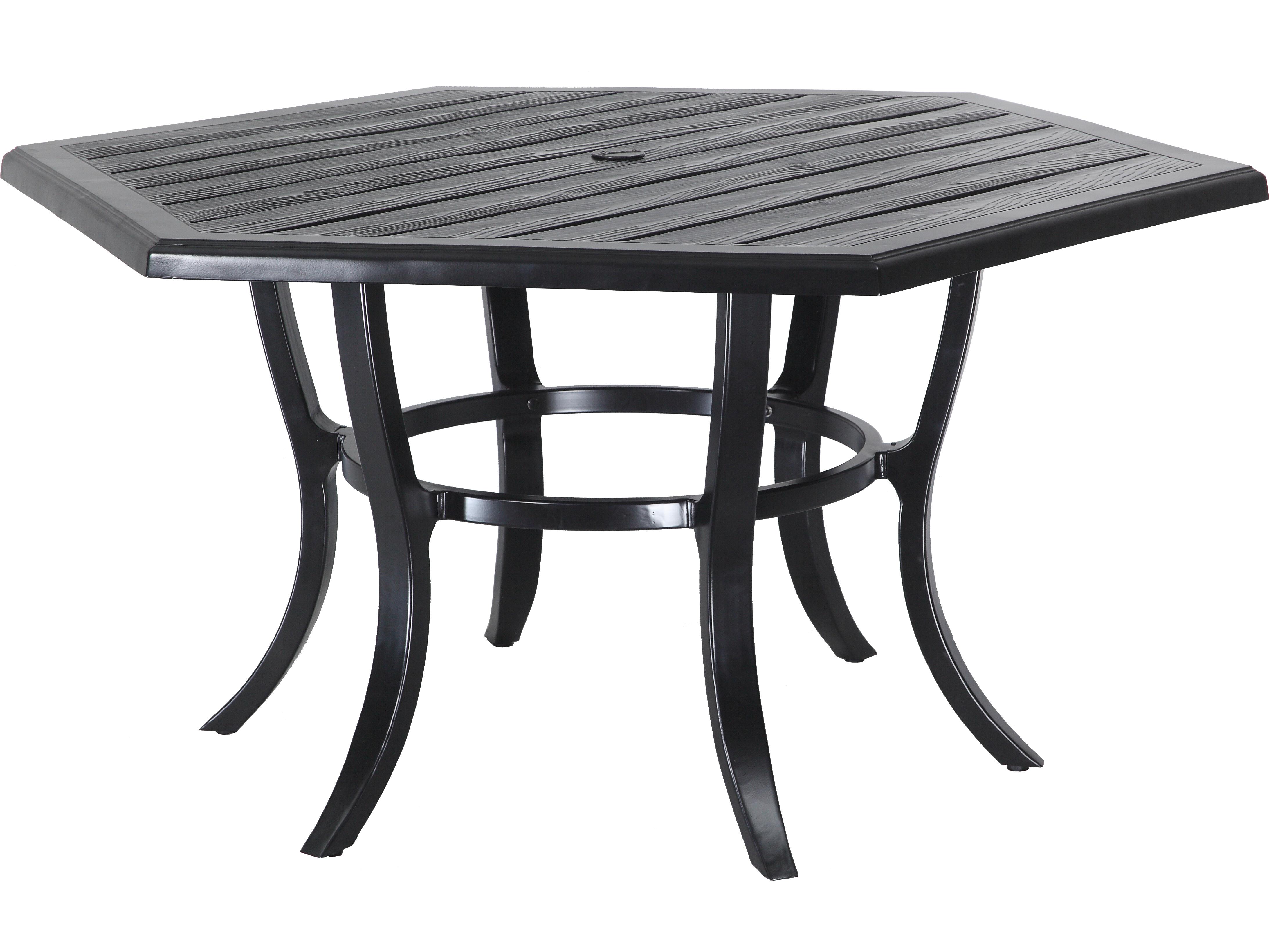 Gensun Lattice Cast Aluminum 61 Hexagon Dining Table With