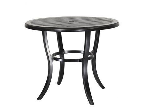 GenSun Lattice Cast Aluminum 44 Round Balcony Table with Umbrella Hole