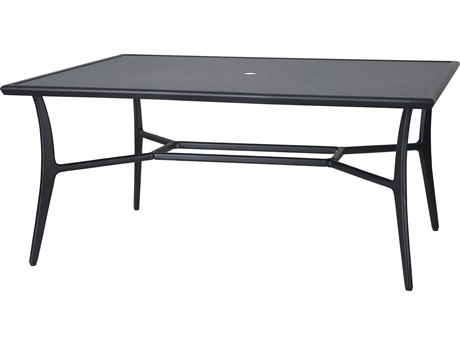Fusion 63''W x 42''D Rectangular with Aluminum Top Dining Table with Umbrella Hole