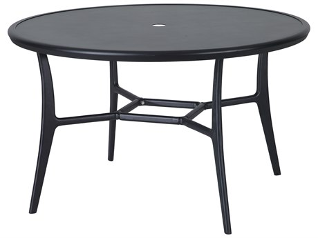 Gensun Fusion 48''Wide Round with Aluminum Top Dining Table with Umbrella Hole PatioLiving