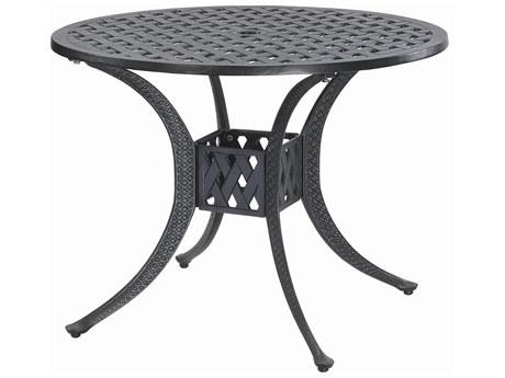 GenSun Coordinate Cast Aluminum 36 Round Dining Table with Umbrella Hole