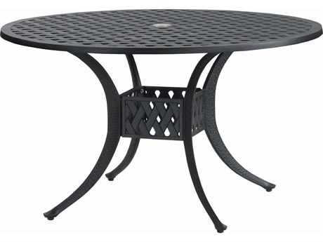 GenSun Coordinate Cast Aluminum 48 Round Dining Table with Umbrella Hole
