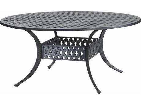 GenSun Coordinate Cast Aluminum 60 Round Dining Table with Umbrella Hole