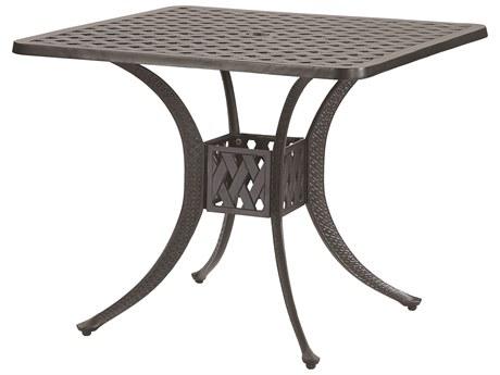 GenSun Coordinate Cast Aluminum 30 Square Dining Table with Umbrella Hole
