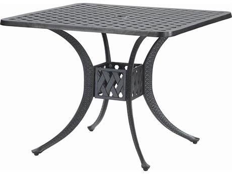 GenSun Coordinate Cast Aluminum 36 Square Dining Table with Umbrella Hole