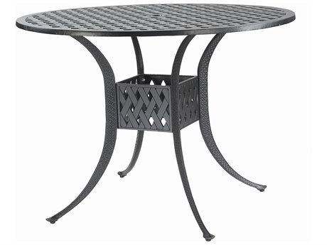 GenSun Coordinate Cast Aluminum 48 Round Bar Table with Umbrella Hole