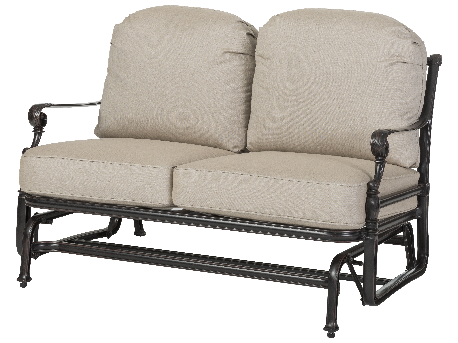 Gensun Grand Terrace Cast Aluminum Cushion Loveseat Glider