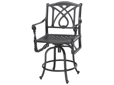 GenSun Grand Terrace Cast Aluminum Cushion Swivel Balcony Stool