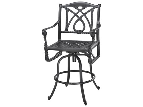 Gensun Grand Terrace Cast Aluminum Cushion Swivel Bar Stool