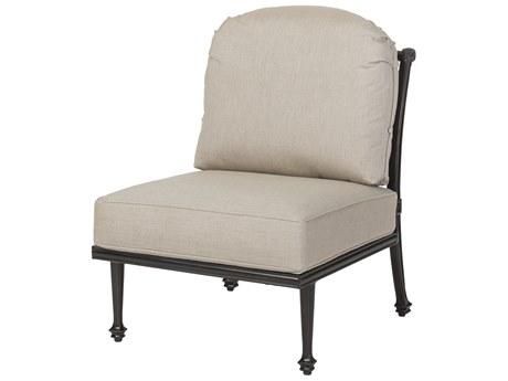Gensun Grand Terrace Cast Aluminum Cushion Armless Lounge Chair PatioLiving