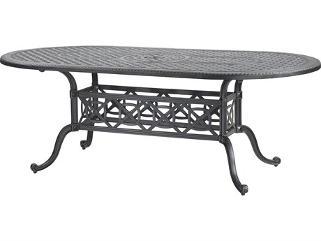 Grand Terrace Cast Aluminum 86''W x 42''D Oval Dining Table with Umbrella Hole