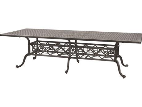 GenSun Grand Terrace Cast Aluminum 112 x 48 Rectangular Dining Table with Umbrella Hole