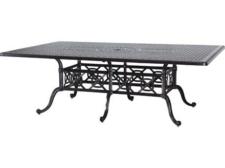 GenSun Grand Terrace Cast Aluminum 90 x 60 Rectangular Dining Table with Umbrella Hole