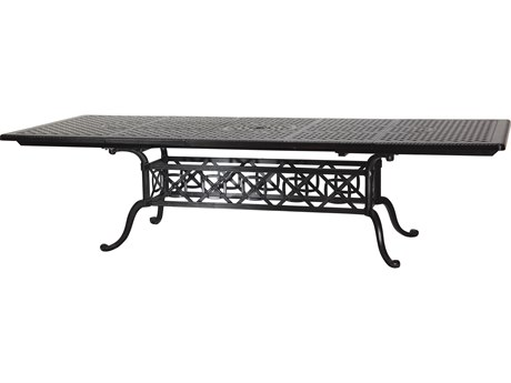 GenSun Grand Terrace Cast Aluminum 74-114 x 44 Rectangular Extension Dining Table with Umbrella Hole
