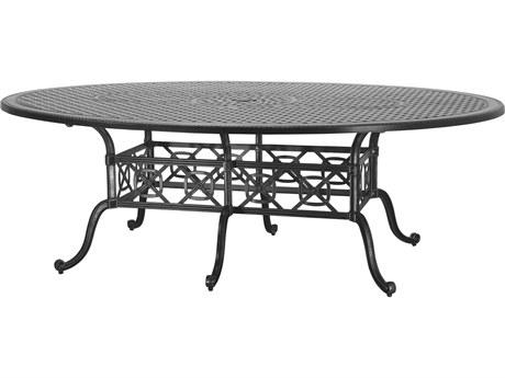GenSun Grand Terrace Cast Aluminum 102 x 72 Geo Dining Table with Umbrella Hole