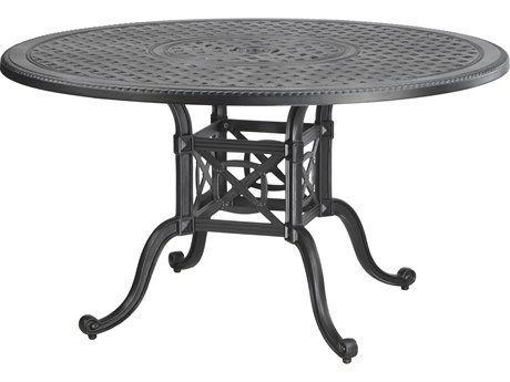 Gensun Grand Terrace Cast Aluminum 48 Round Dining Table with Umbrella Hole