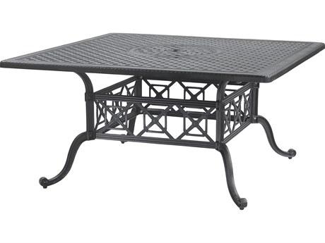 GenSun Grand Terrace Cast Aluminum 60 Square Dining Table with Umbrella Hole