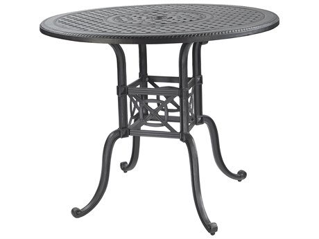 GenSun Grand Terrace Cast Aluminum 48 Round Bar Table with Umbrella Hole