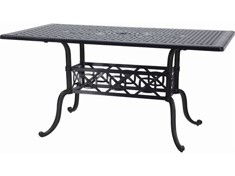 GenSun Grand Terrace Cast Aluminum 63 x 42 Rectangular Bar Table with Umbrella Hole