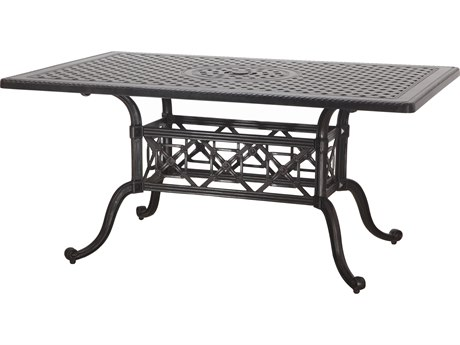 Gensun Grand Terrace Cast Aluminum 63 x 42 Rectangular Balcony / Gathering Table with Umbrella Hole