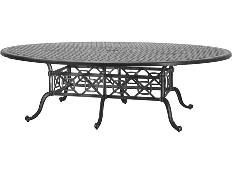 GenSun Grand Terrace Cast Aluminum 102 x 72 Geo Balcony / Gathering Table with Umbrella Hole