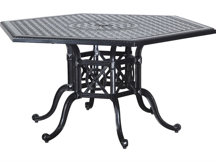 Gensun Grand Terrace Cast Aluminum 61 Hexagon Dining Table With Umbrella Hole