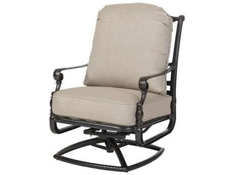 Gensun Grand Terrace Cast Aluminum Cushion High Back Swivel Rocking Lounge Chair