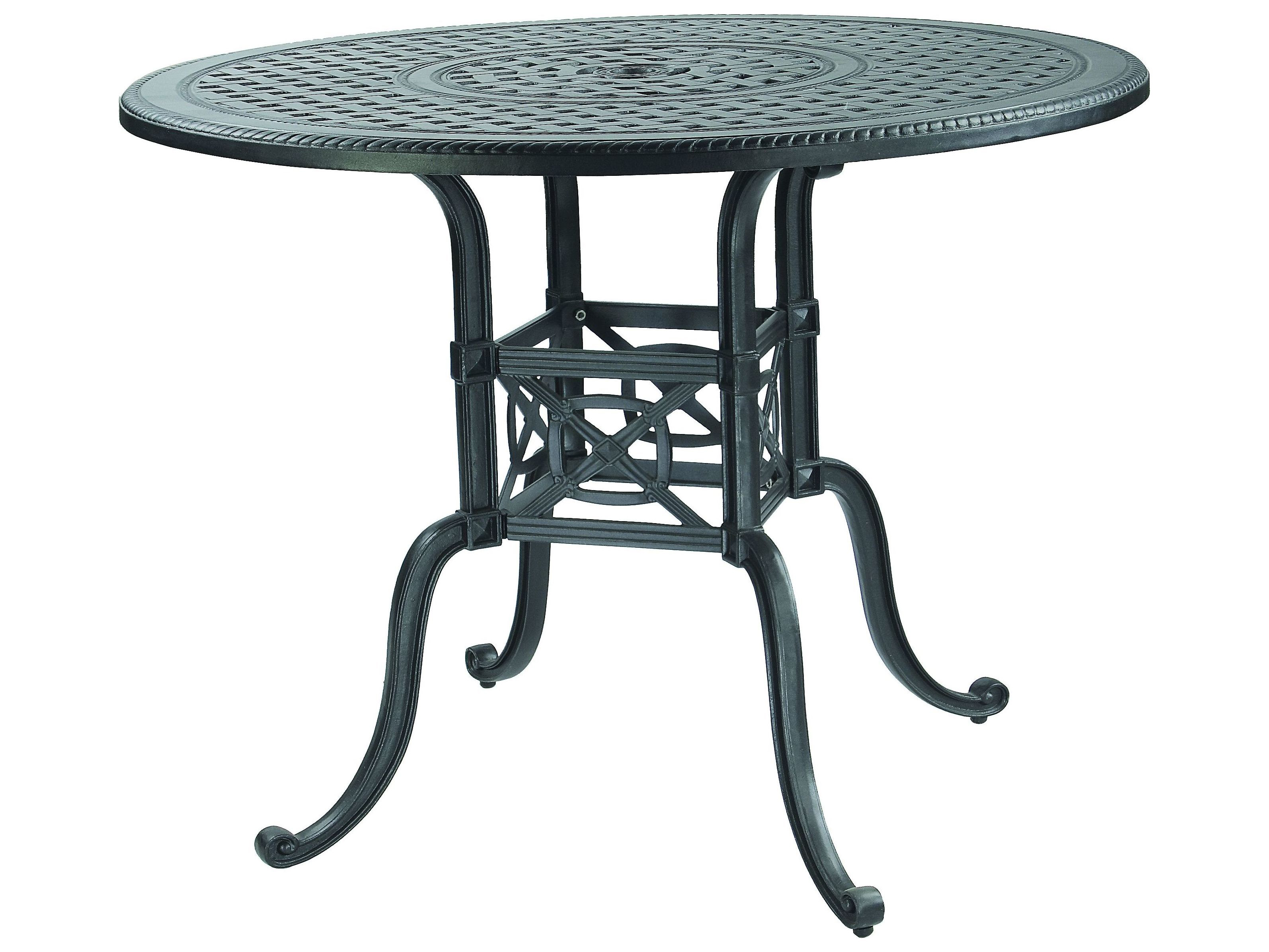 gensun grand terrace cast aluminum 54 round balcony gathering table with umbrella hole 1034na54. Black Bedroom Furniture Sets. Home Design Ideas