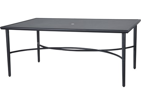 Gensun Talia 63''W x 42''D Rectangular with Aluminum Top Dining Table with Umbrella Hole
