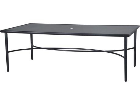 Gensun Talia 86''W x 42''D Rectangular with Aluminum Top Rectangular Dining Table with Umbrella Hole