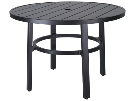 Gensun Plank Aluminum 44''Wide Round Dining Table with Umbrella Hole