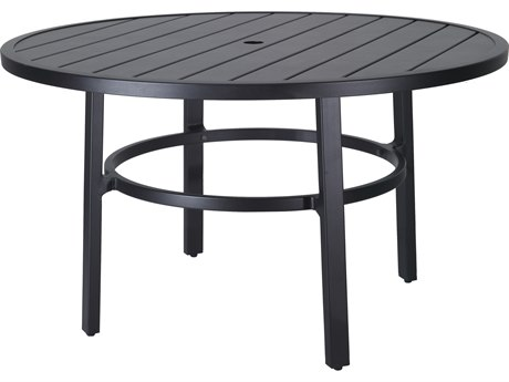 Gensun Plank Aluminum 53''Wide Round Dining Table with Umbrella Hole