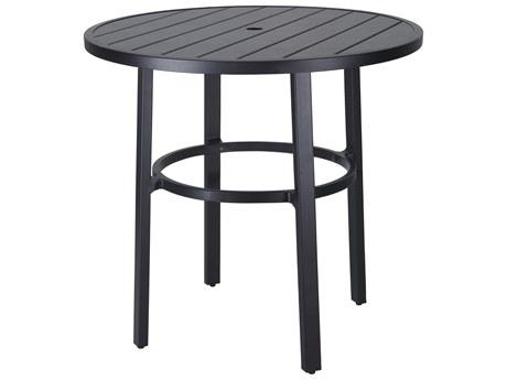 Gensun Plank Aluminum 44''Wide Round Bar Tablewith Umbrella Hole