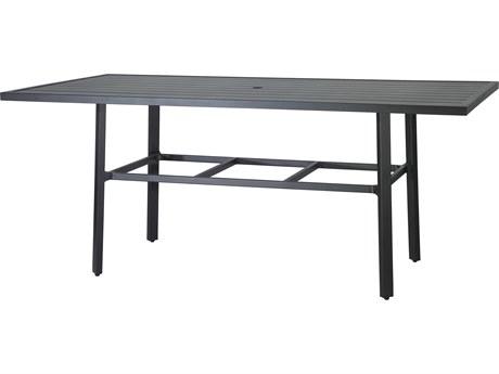 Gensun Plank Aluminum 86''W x 44''D Rectangular Counter Table with Umbrella Hole