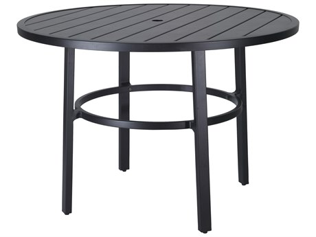Gensun Plank Aluminum 53''Wide Round Counter Table with Umbrella Hole
