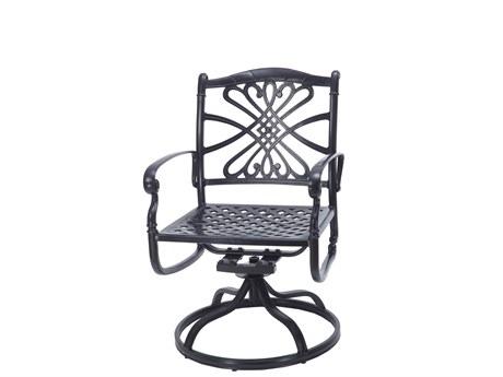 Gensun Bella Vista Cast Aluminum Swivel Rocker Dining Arm Chair