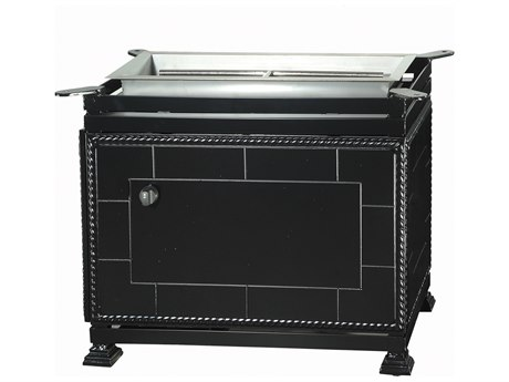 GenSun Paradise Aluminum 33 x 19 Rectangular Gas Fire Pit Dining Height Base