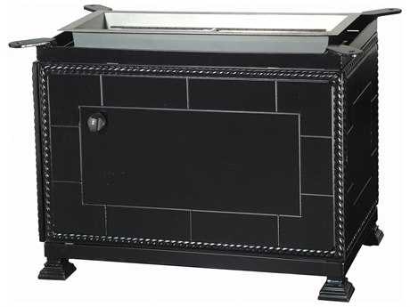 GenSun Paradise Aluminum 33 x 19 Rectangular Gas Fire Pit Casual Height Base
