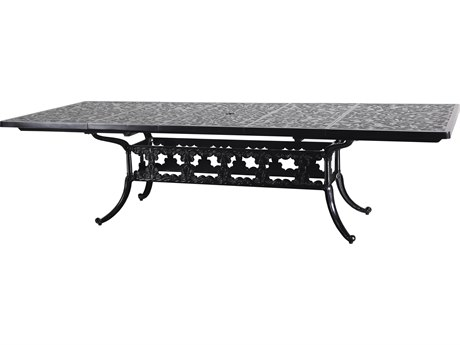GenSun Regal Cast Aluminum 74-114 x 44 Rectangular Extension Dining Table with Umbrella Hole