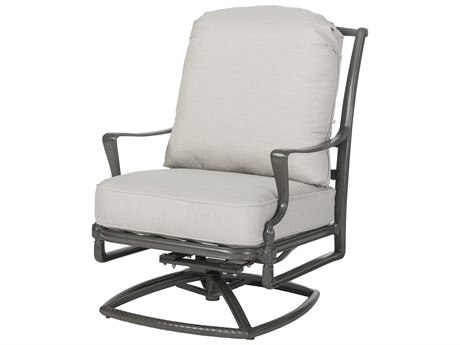 Gensun Bel Air Cushion Cast Aluminum High Back Swivel Rocker Lounge Chair