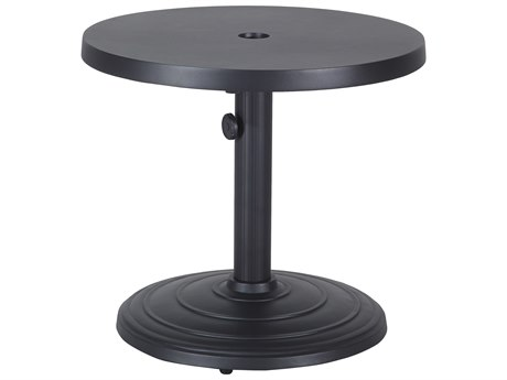 Gensun Meridian Aluminum 24''Wide Round End Table with Umbrella Hole
