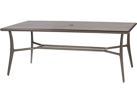 GenSun Phoenix Aluminum 63 x 42 Rectangular Dining Table with Artisan Top and Umbrella Hole