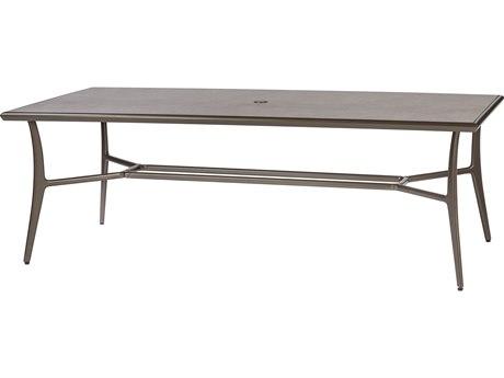 GenSun Phoenix Aluminum 86 x 42 Rectangular Dining Table with Artisan Top and Umbrella Hole