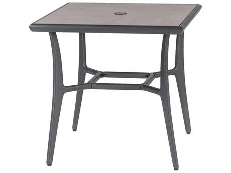 GenSun Phoenix Aluminum 30 Square Dining Table with Artisan Top and Umbrella Hole