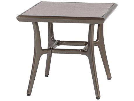 Gensun Phoenix Aluminum 22 Square End Table with Artisan Top
