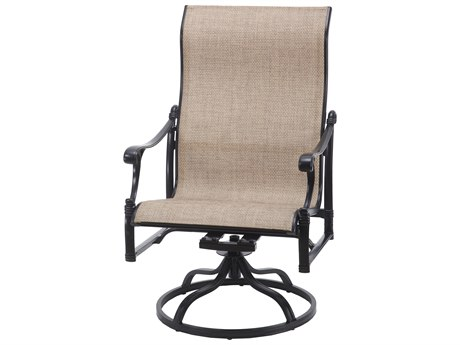 Gensun Michigan Sling Cast Aluminum High Back Swivel Rocking Lounge Chair
