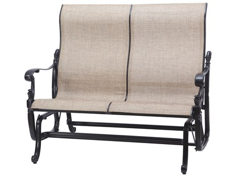 GenSun Florence Sling Cast Aluminum High Back Loveseat Glider